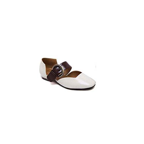 SHEO sandalias de tacón alto Sra. Europa y los Estados Unidos una palabra hebilla cabeza cuadrada con zapatos boca baja Blanco