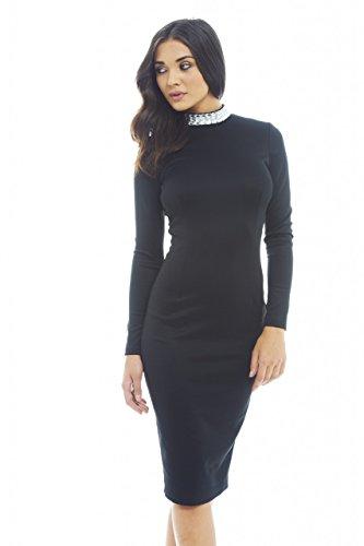AX Paris Women's Plain Scuba Long Sleeve Jewel Neck Black Dress(BLACK, Size:8)