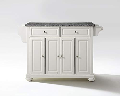 Crosley Furniture Alexandria Kitchen Island with Solid Grey Granite Top, White