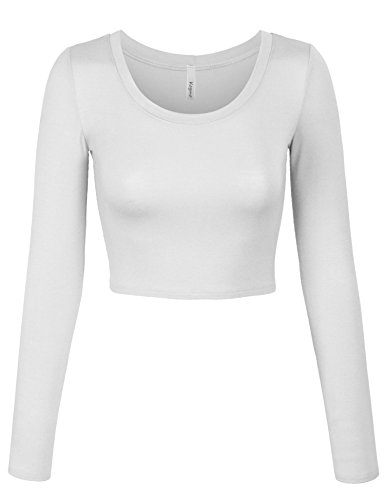 KOGMO Womens Long Sleeve Basic Crop Top Round Neck With Stretch -S-White