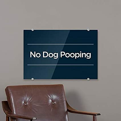 Basic Navy Premium Acrylic Sign No Dog Pooping 5-Pack 27x18 CGSignLab