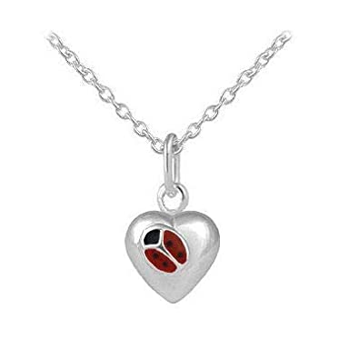 Silver Ladybug Heart Girls Necklace Children Jewelry 12-18 In