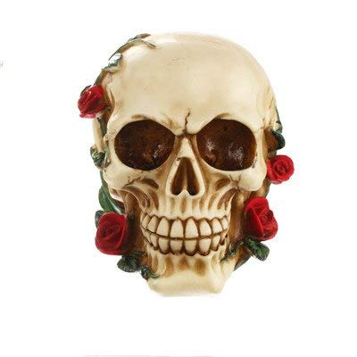SaveStore European Rose Skull Figurines Resin Skull Desktop