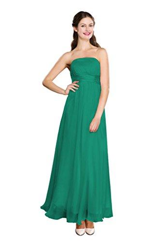 Elegante Vestito Verde Del Promenade Da Abito Spalline Di Abito Colore Senza E Chffon Sera Seta D'onore Damigella WvqUzg0
