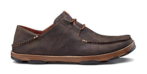 OLUKAI Men's Ohana Lace-Up Nubuck Moc Toe Shoe,Dark Wood/Toffee Nubuck,US 11 M