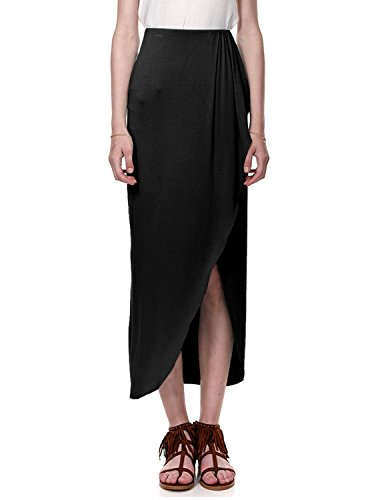 Regna X For Women Draped Jet Black Beach Wear Small Floor Length Maxi - Womens Skirt Lightweight