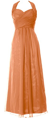 MACloth Women Halter Pleated Chiffon Long Prom Dress Wedding Party Formal Gown Coral