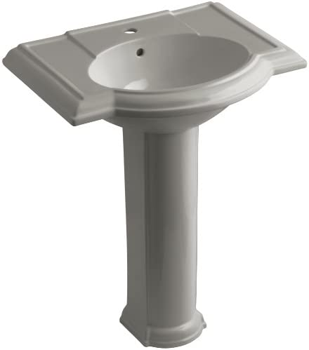 KOHLER K-2294-1-K4 Devonshire Pedestal Bathroom Sink with Single-Hole Faucet Drilling, Cashmere