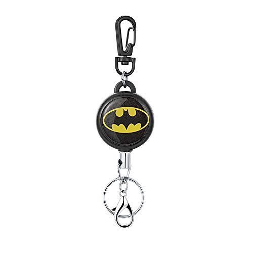 HASFINE Retractable Keychain Badge Holder Carabiner, Cute Retractable Badge Reel Clip with Key Chain Stainless Hook, Batman (Mens Badge)