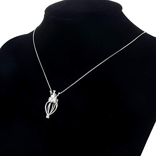1Pcs Women Cute Snowman Shape Pearl Beads Cage Pendant Necklace 925 Fine Silver