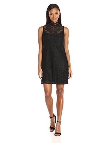 - Ronni Nicole Women's Mock Neck Vintage Lace Shift, Black, 12