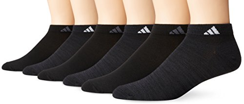adidas Mens Superlite Low Cut Socks (6-Pack), Black-Night Grey Space Dye/White/Black/Onyx, Large (Size 6-12)