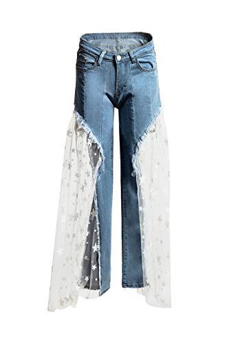 De Azul Anchas Pentagram Vaqueros En Patchwork Las Bolsas Mezclilla Mujer Piernas Pantalones Malla B5qa78