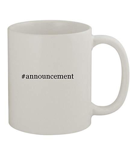 #announcement - 11oz Sturdy Hashtag Ceramic Coffee Cup Mug, White -