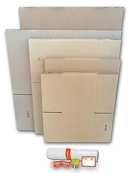 Cajas de Cartón para Mudanzas (Pack BÁSICO de 16 Cajas + Accesorios) - Cajas de Canal Simple, Doble y de Color Marrón. Fabricadas en España. Cumplen ...