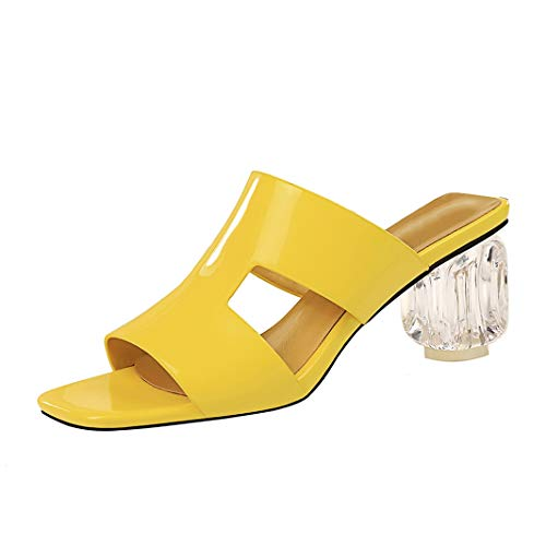 (Drew Toby Women High Heels Fashion Transparent Thick Heel Patent Leather Elegant Slippers)