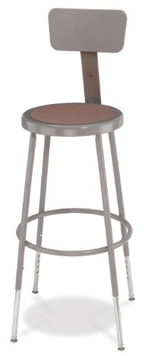 National Public Seating 6224HB  Grey Steel Stool with Hardboard Seat Adjustable and Backrest, 25