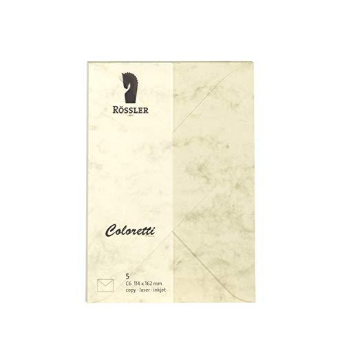(Rössler Envelopes C6COLORETTI, 80g/m², Pack of 5) Chamois marmora)