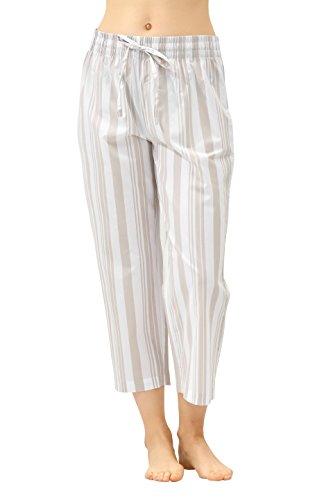 CYZ Women's 100% Cotton Woven Pajama Capri-AlmondCreamStripe-L