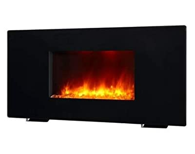 Wall Mount Fireplace Electric Fireplace Heater- Black Glass 38 Inch FreeStanding Convertible with Remote Control - Warm Cozy Touch in Your Home