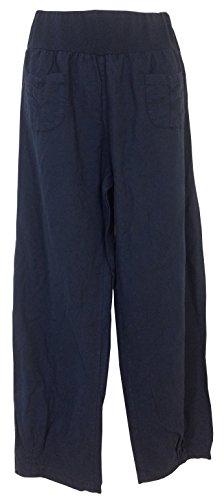 Pantaloni lino in Italy Marino Donna Made 8Tgdw8q