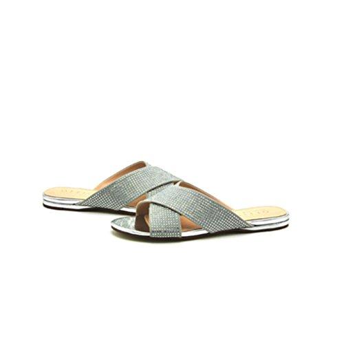 piatti tacco Sandali gray donna QPYC romani incrociate scarpe con Comodi strass con sandali piatto TPaadw6nxq