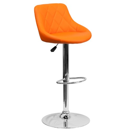 Flash Furniture Contemporary Orange Vinyl Bucket Seat Adjustable Height Barstool with Chrome Base