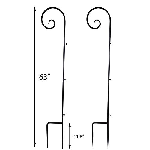 Vencer Set of 2 Shepherd Hook 63 inch Tall 7/10 in Thick Rust Resistant Premium Metal Hook for Weddings Hanging Plant Baskets Solar Lights Lanterns Bird Plant Hangers,Black,VHH-001 by Vencer