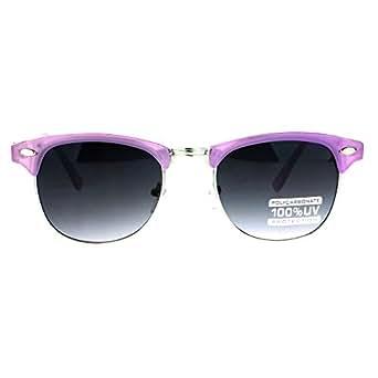Purple Girly Colored Half Rim Clubmaster Wayfarer Sunglasses