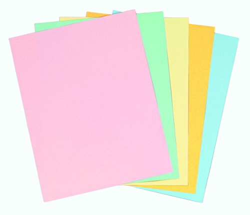 Staples Pastels Colored Copy Paper, Assorted, 8.5 x 11 inch Letter Size, 20lb Density, 30% Recycled, Acid-Free, Pink Green Gold Blue Canary Yellow, 400 Total Sheets (679481)