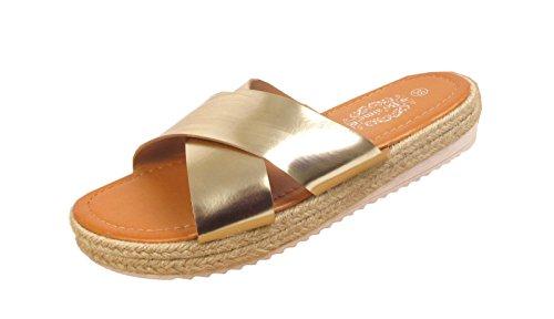 Womens Ladies Espadrille Summer Cross Over Shiny Mules Sliders Slip On Sandals (UK 3/EU 36/US 5, Gold)