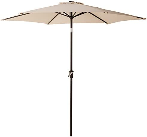 SONGMICS 9 ft Patio Umbrella, Outdoor Table Umbrella, Sun Shade, Octagonal Polyester Canopy, with Tilt and Crank Mechanism – for Gardens, Balcony and Terrace Red