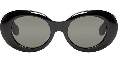 Rock Star Retro Fashion Thick Round Frame Sunglasses (Black, - Eyewear Rockstar