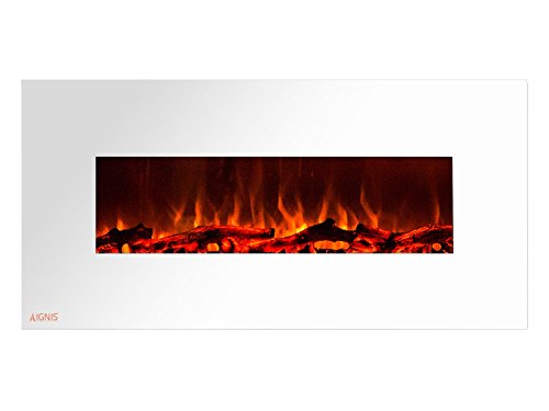 Cheap Ignis Royal White 50 inch Wall Mount Electric Fireplace with Logs CSA US Certified (Could be recessed with no Heat) Black Friday & Cyber Monday 2019