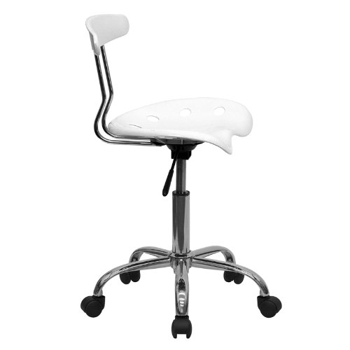 Flash Furniture Vibrant White and Chrome Swivel Task Chair with Tractor Seat