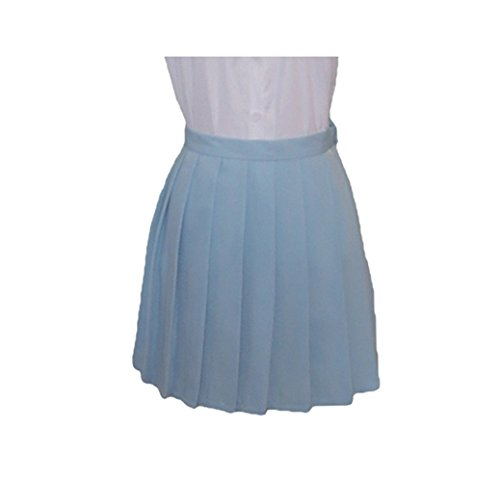 WOTOGOLD Love Live Cosplay Costume Student Uniform Summer 14 Style Pleated Skirt Light Blue (Light Blue Pleated Skirt compare prices)