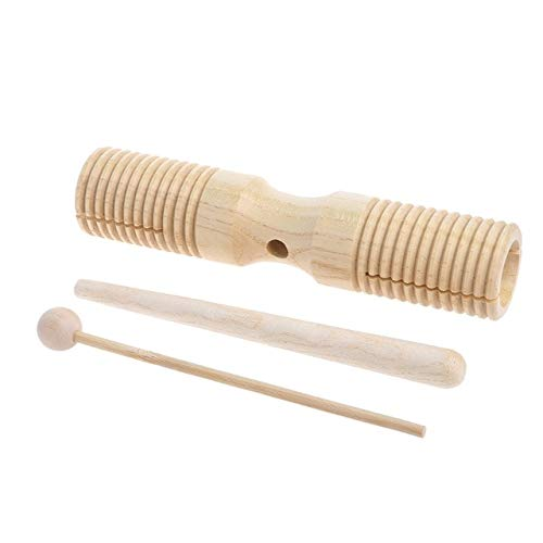 DishyKooker Two Tone Wood Block Beater 2-Tone Woodblock Guiro Wooden Handle Percussion Toy Wooden -