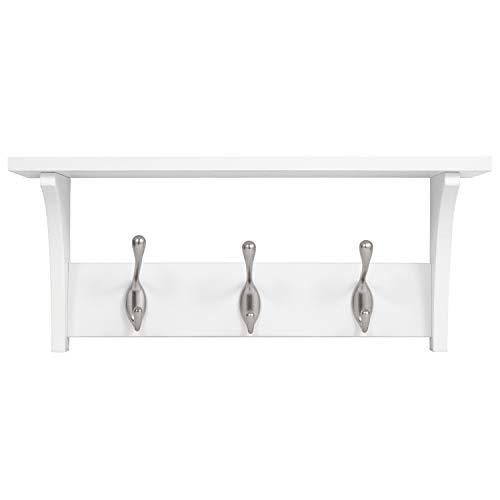 Americanflat Wall Shelf - 3 Metal Hooks - Hang Coats, Keys, Bags - Perfect for Entryway - White