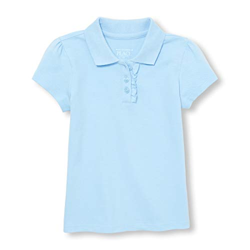 (The Children's Place Baby Girls' Toddler Uniform Short Sleeve Polo, Day Break - Ruffle 43572, 3T)