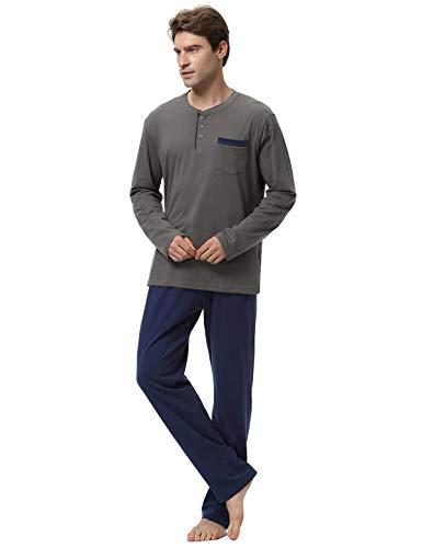 Pyjamas Ronde Hommes Abollria Manche 100 Pyjama Coton Col De Ensemble 100 Gris Coton Longue v5vnSUq0r