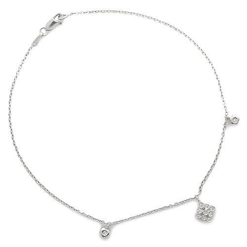 Gioie Chaîne de Cheville Femme en Or 18 carats Blanc avec Diamant H/SI, Cm 23, 3.2 Grammes