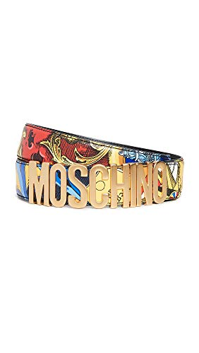 - Moschino Men's Printed Logo Buckle Belt, Blue Multi, 48