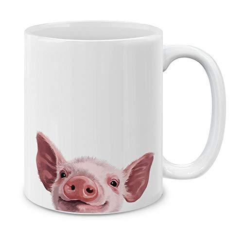 MUGBREW Baby Pig White Ceramic Coffee Mug Tea Cup, 11 OZ (Coffee Mugs Pig)