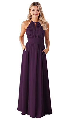 - Women's Halter A-line Pleated Chiffon Long Bridesmaid Dress Evening Party Gown with Pockets Size 10 Plum