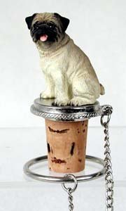 - Wine Bottle Stopper - Pug (Brown/Tan) Decorative Cork - Hand Painted Dog