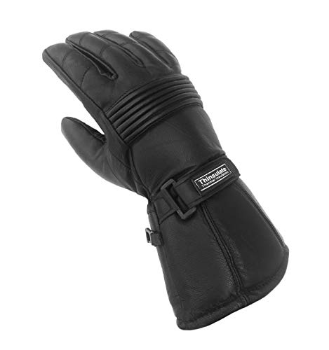 WFX Mens Winter Motorcycle Gloves Sheep Leather Waterproof with Hipora Thinsulate Thermal Windproof (Large)