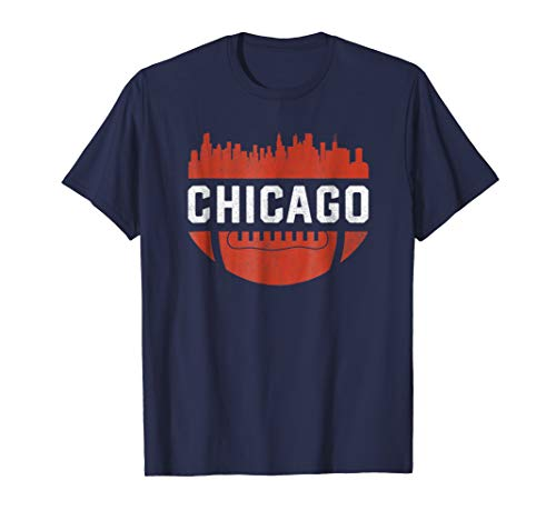 Vintage Chicago Illinois Skyline Retro Football T-Shirt