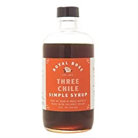 ROYAL ROSE Three Chile Simple Syrup, 8 Ounce 40 Sweet and smoky and dangerously addictive, this spicy syrup is made with fresh poblano and jalapeño peppers, and dried ancho chiles. Good Food Award winner 2015. Made by Hand in Small Batches Made with Organic Ingredients