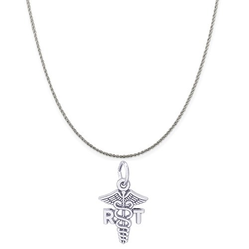 (Rembrandt Charms Sterling Silver RT Caduceus Charm on a Sterling Silver Rope Chain Necklace, 18