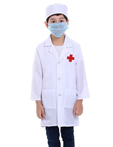 TOPTIE Children White Lab Coat Kids Doctor Role